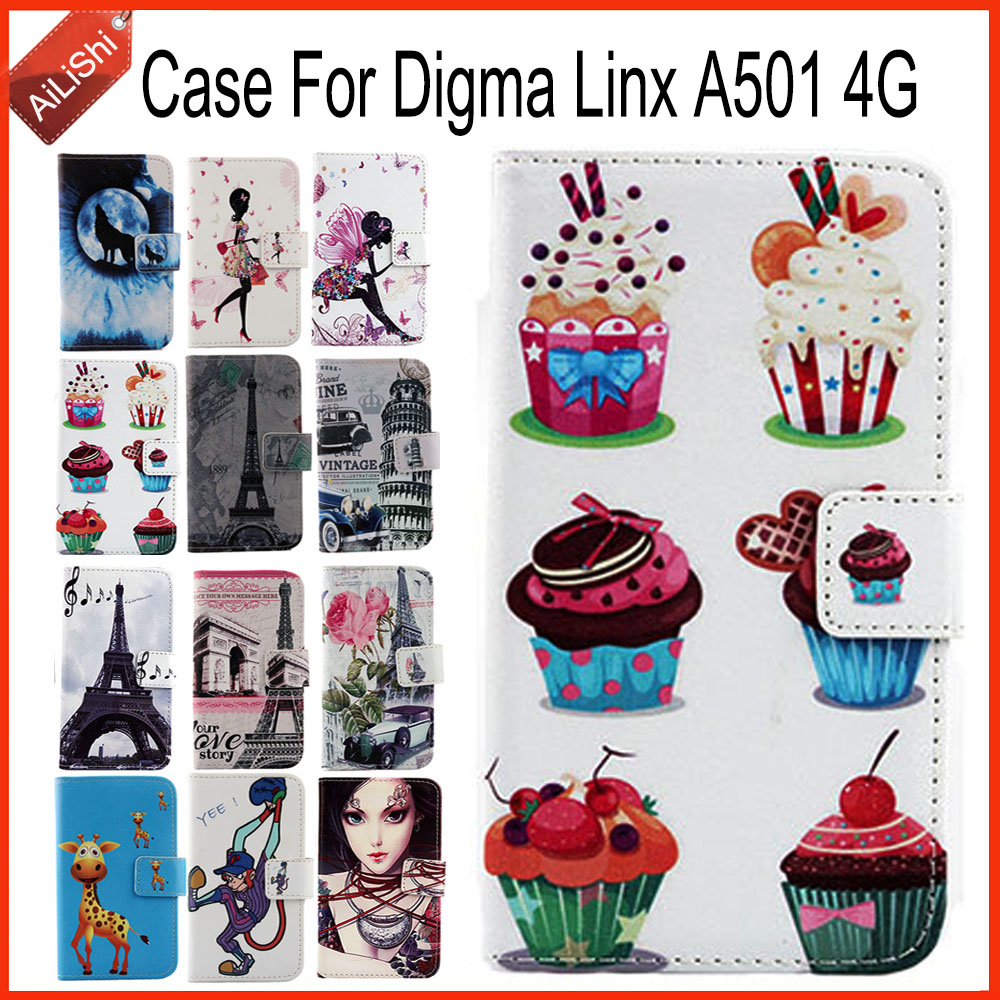 AiLiShi Case For <font><b>Digma</b></font> <font><b>Linx</b></font> <font><b>A501</b></font> 4G PU Flip Leather Case <font><b>Linx</b></font> <font><b>A501</b></font> 4G <font><b>Digma</b></font> Exclusive 100% Special Phone Cover Skin+Tracking image