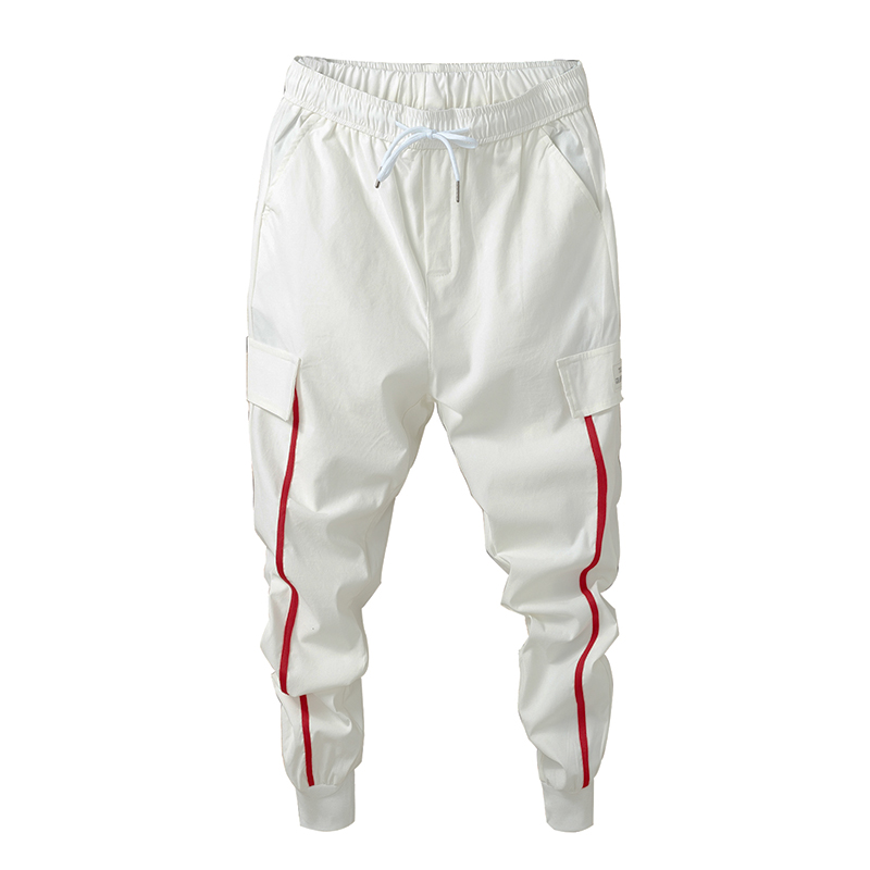 Trousers Harem-Pants Striped Jogger Skinny Long-Side Male Casual New-Fashion Print Red
