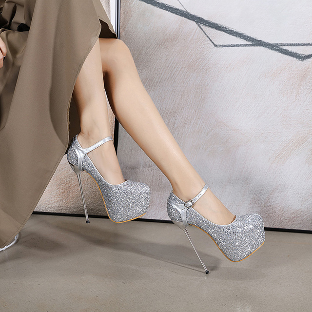 New Shiny Sequin 16 Cm High Heels Womens Pumps Nightclub Party Shoe Size 34-40