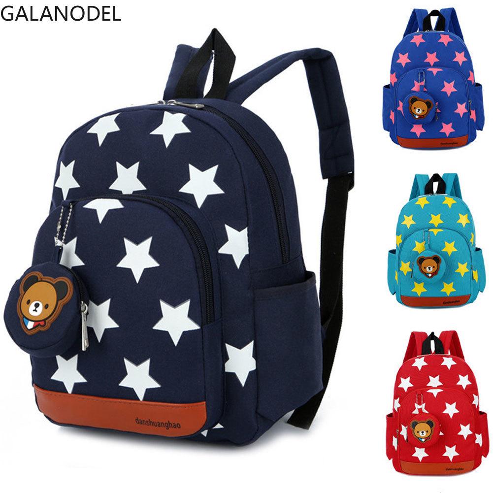 Children Backpack Kids Kindergarten School Bags Stars Printing Nylon Backpacks Baby Boys Girls Kid Nursery Toddler Cute Rucksack