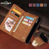 Funda de cuero con tapa de lujo para Samsung Galaxy, cartera con cremallera para tarjetas, bolsas para teléfono, S21, S20 FE, S10 E, S9, S8, Note 20, 10, 9, Ultra Plus