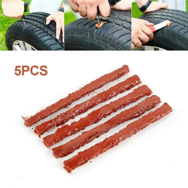 5pcs Car Motorcycle Bike Auto Repair Tools Auto Wheel Tire Repair Strips Seal Rubber Strip Kit Tubeless Tire Repair Accessories