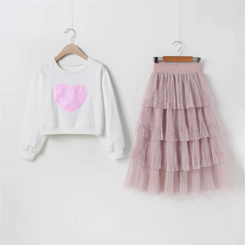 패션 Sequins 심장 풀오버와 긴 메쉬 스커트 정장 가을 어린이 옷 유아 소녀 반짝이 스웨터 케이크 레이어 스커트