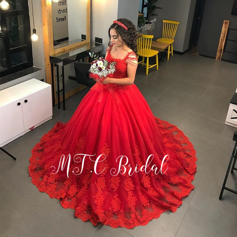 2019 Gorgeous Red Princess   Prom     Dresses   2019 Graceful Lace Beading Tulle Puffy Long Arabic Evening Gowns Ballkleider Lang Cheap