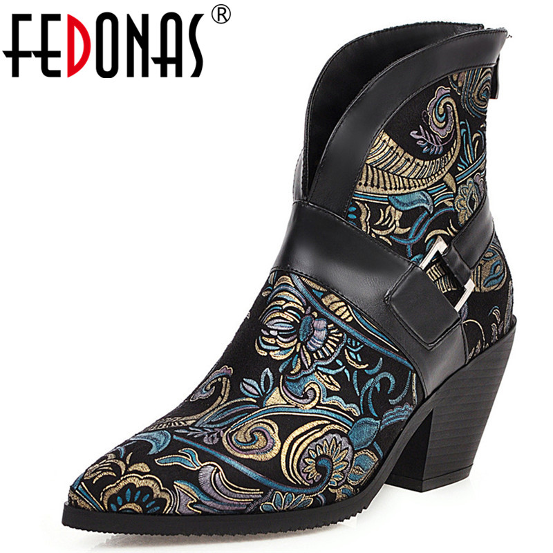 FEDONAS Vintage New Prints Synthetic <font><b>Leather</b></font> <font><b>Women</b></font> <font><b>Sexy</b></font> Pointed Toe Ankle <font><b>Boots</b></font> Prom Party Shoes Woman Big Size Chunky <font><b>Heels</b></font> image