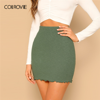 COLROVIE Green Lettuce Trim Rib Knit Bodycon Skirt High Waist Mini Streetwear Skirt Women 2019 Summer Ladies Solid Casual Skirts