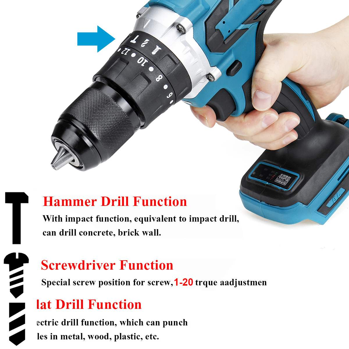 3 in 1 Cordles Electric Screwdriver Brushless Electric Hammer Drill 20 3 Torque Cordless Impact Drill for Makita 18V Battery