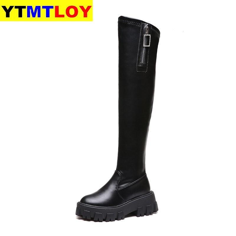 Solide noir bottines automne talons carrés femme bout rond en cuir PU bottes dames décontracté sans lacet femmes chaussures femme bottes   AliExpress