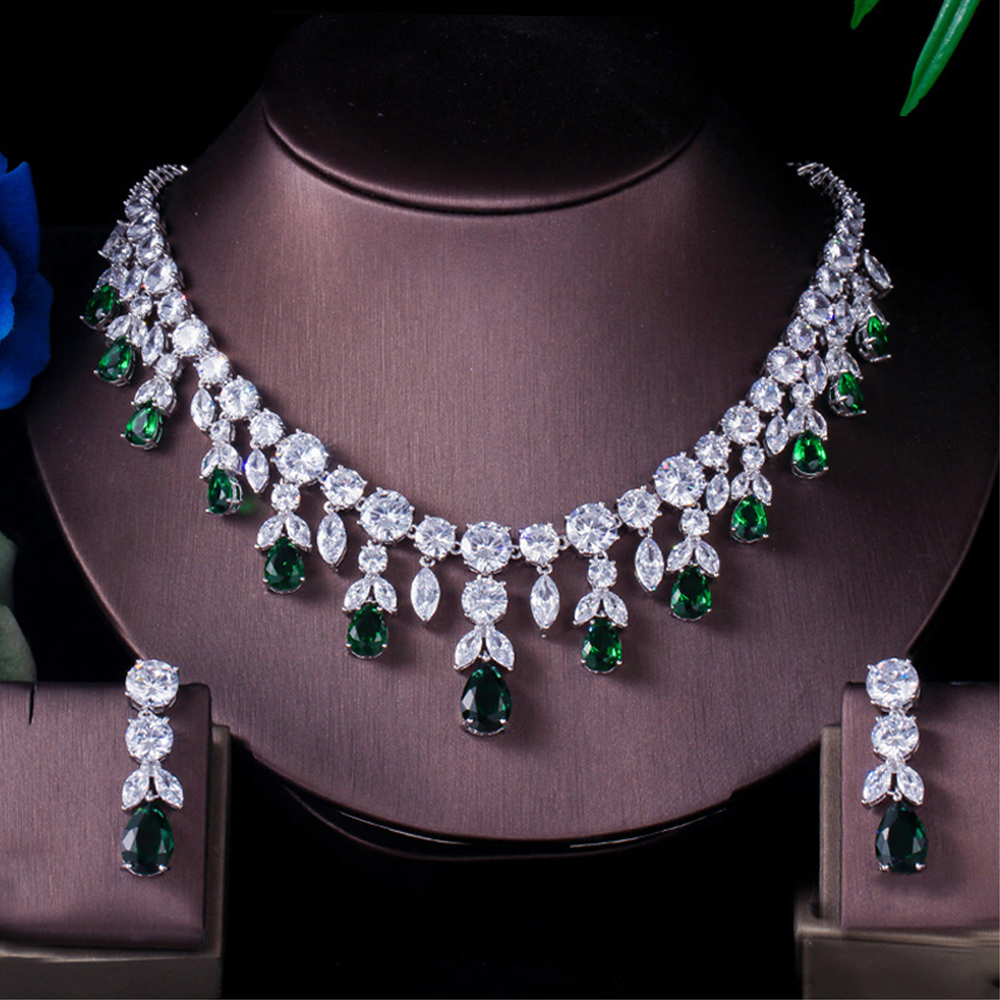 Threegraces Green Cz Stone Earring Necklace Sets Brilliant Big Long Drop Wedding Bridal Dress Jewelry Set For Women Js256 Diamond Jewelry Prom Jewelry From Haihuanghe 28 63 Dhgate Com