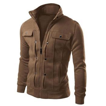 Plus Size Men Jacket Coats Solid Color Stand Collar Long Sleeve Zip Pocket Slim Jacket Coat Long Zip