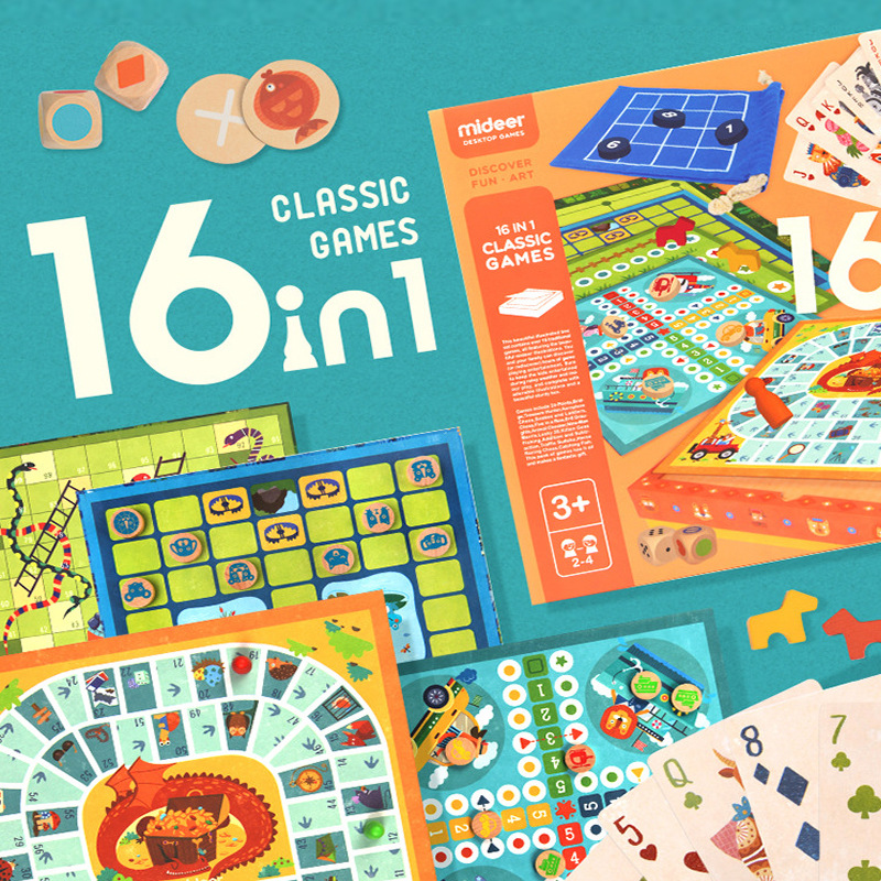 Children's 16-in-1 multi-function board game Sudoku game parent-child puzzle early education chess toys travel board game