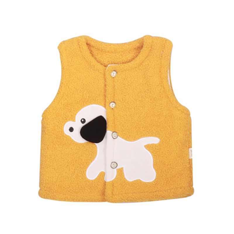 新しい秋漫画男の赤ちゃん女の子ベスト子羊キルトシングルブレストの子供漫画の子犬パッチキャンディーベスト