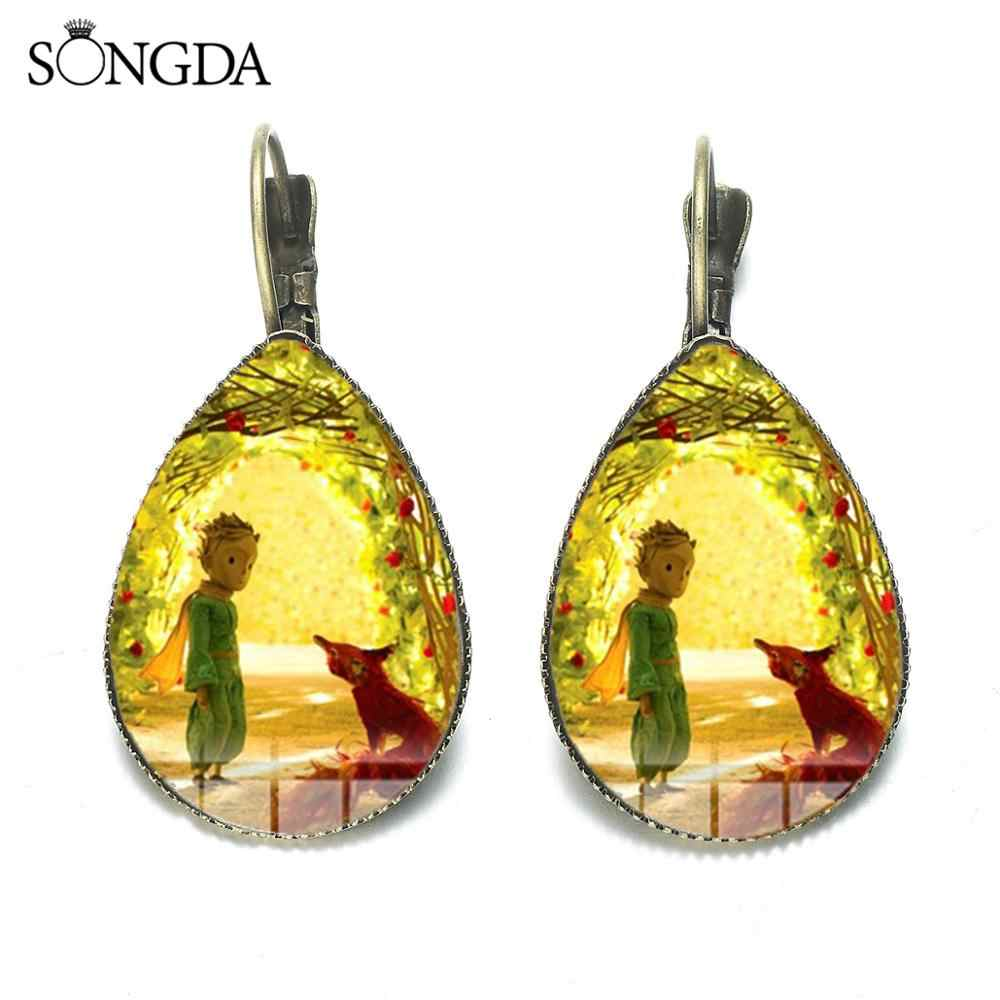 Merek Cute Little Prince Anting-Anting Le Petit Prince Dongeng Kartun Koleksi Glass Photo Cabochon Air Drop Anting-Anting