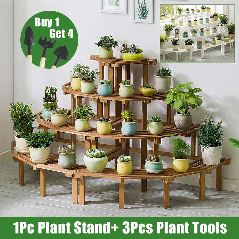 3 4 Tiers Wooden Plant Stand Flower Pot
