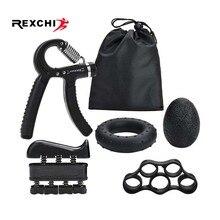 REXCHI 5 шт./компл. тренажерный зал Фитнес Регулируемая рукоятка комплект палец предплечья восстановления мышц тяжелый кистевой эспандер тренажер для мышц тренер