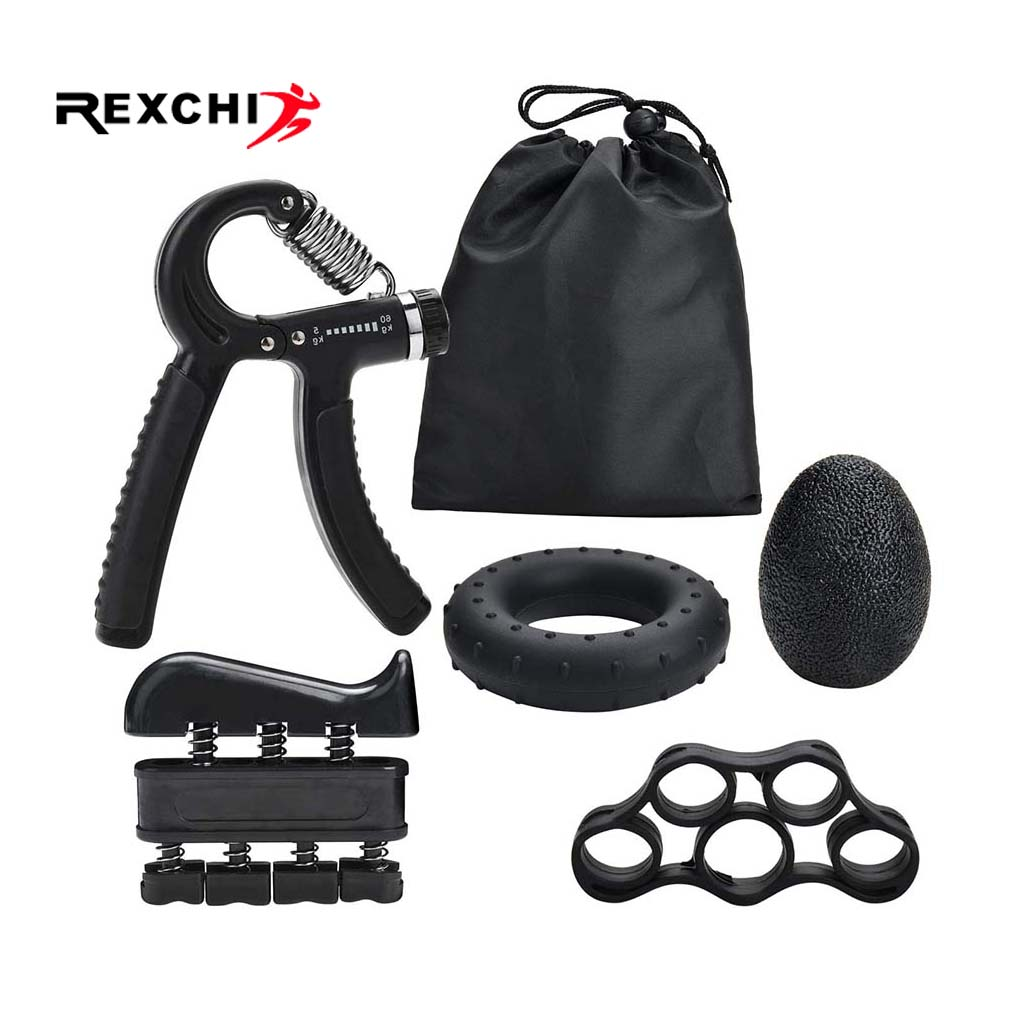 REXCHI 5PC/Set Gym Fitness Adjustable Hand Grip Set Finger Forearm Strength Muscle Recovery Heavy Hand Gripper Exerciser Trainer