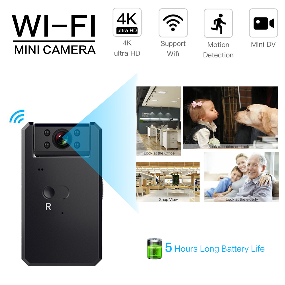 <font><b>Mini</b></font> <font><b>Camera</b></font> <font><b>4K</b></font> WIFI HD 1080P IP <font><b>camera</b></font> Wireless Security Baby Monitor Camcorder Infrared Night Vision for hidden TF Smart Home image