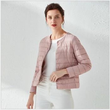 Woman Jacket Autumn Winter Coats Black for Women Vintage Solid Color Portable Matt Fabric Lightweight Slim Warm Parka