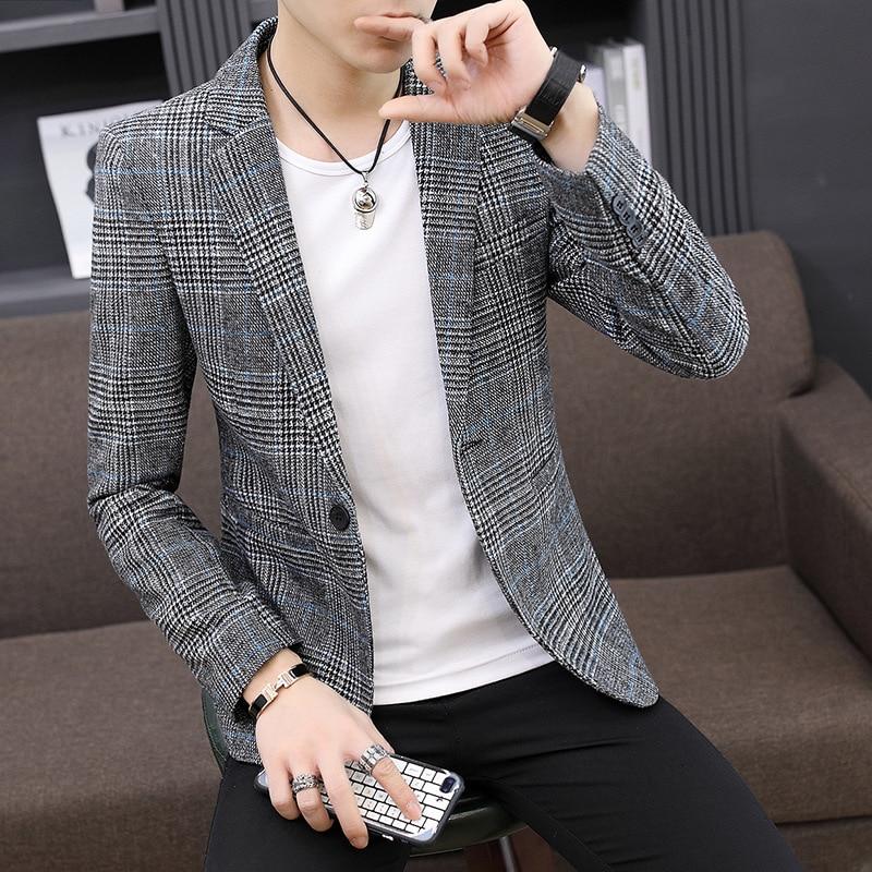 Wholesale Vintage Plaid Blazer British Stylish Male Blazer Suit Jacket Business Casual One Button Blazer Regular men Abrigo Homb 1