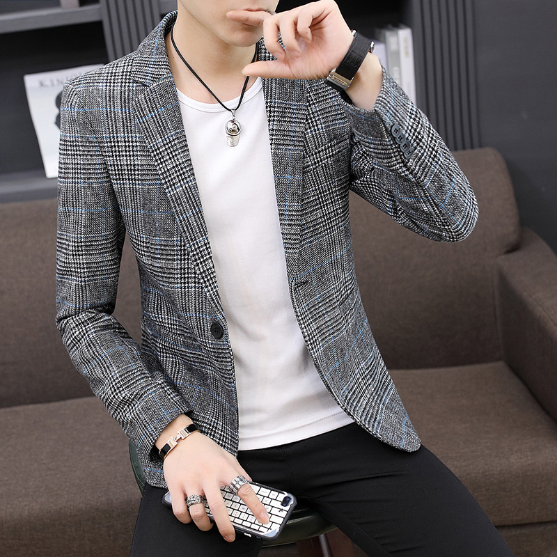 Wholesale Vintage Plaid Blazer British Stylish Male Blazer Suit Jacket Business Casual One Button Blazer Regular Men Abrigo Homb