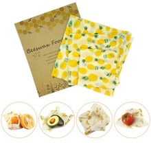 3PCS/Set Organic Cotton Beeswax Fresh Cloth Set Reusable Household Beeswax Fresh Lid Cover Stretch Lid Jungle Party Beeswax Wrap