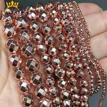 Faceteadas naturales oro rosa cuentas de hematita redondas cuentas de piedra sueltas para fabricación de joyería DIY accesorios de la pulsera/2/3/4/6/8/10/15mm