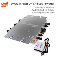 Wireless IP65 1400W MPPT On Grid Micro Solar Inverter, 22 50VDC to 80 260VAC, 50hz 60hz auto, workable for 4x350W solar panel.