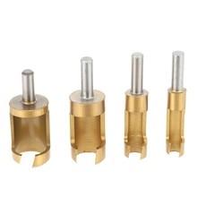 4 Pcs Drill Bits Titanium Coated Plug Cutter Counter Bored 6-16mm Hole Wood Timber Drill Tool Tubular Titanium Plated Cork Drill