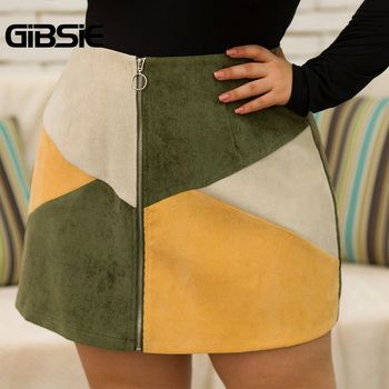 GIBSIE Autumn winter Fashion Color Block Women Skirt Plus Size O-ring Zipper High Waist Skirts Female Casual Office A-line Skirt