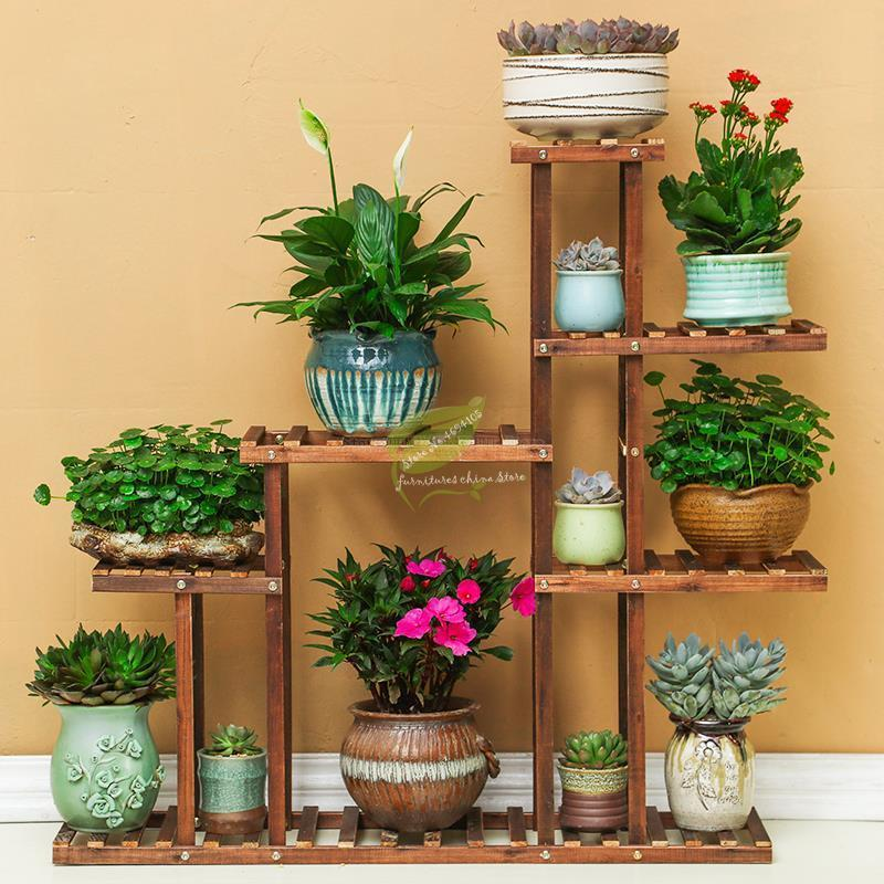 BHot Carbonized Wood Damp-proof Antiseptic Flower Rack Multi-layer Plant Stand Shelves Garden Patio Balcony With Planting Tools