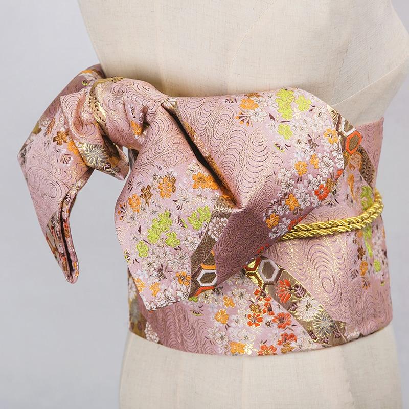 Japan Kimono Cummerbunds Women's Dress Accessory Beautiful Butterfly Flower Prints Yukata Waistbands Cosplay Wear Vintage Style