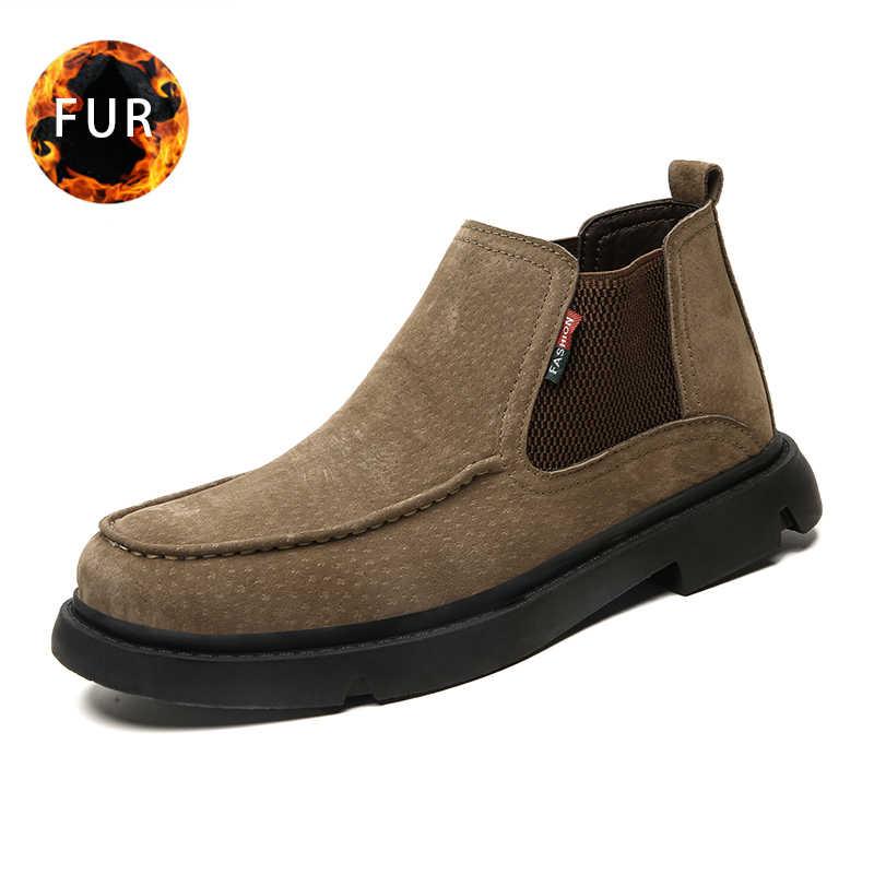 2019 moda kış kar botları sıcak erkek botları peluş rahat iş güvenlik ayakkabıları rahat yarım çizmeler 2019 büyük boy 48