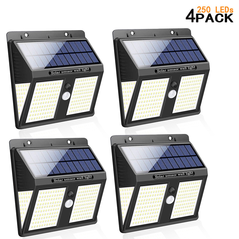 4 Pack 146/ 250 LEDs Solar Light PIR Motion Sensor Wall Lamp Outdoor Waterproof Solar Sunlight Powered Garden Street Decoration