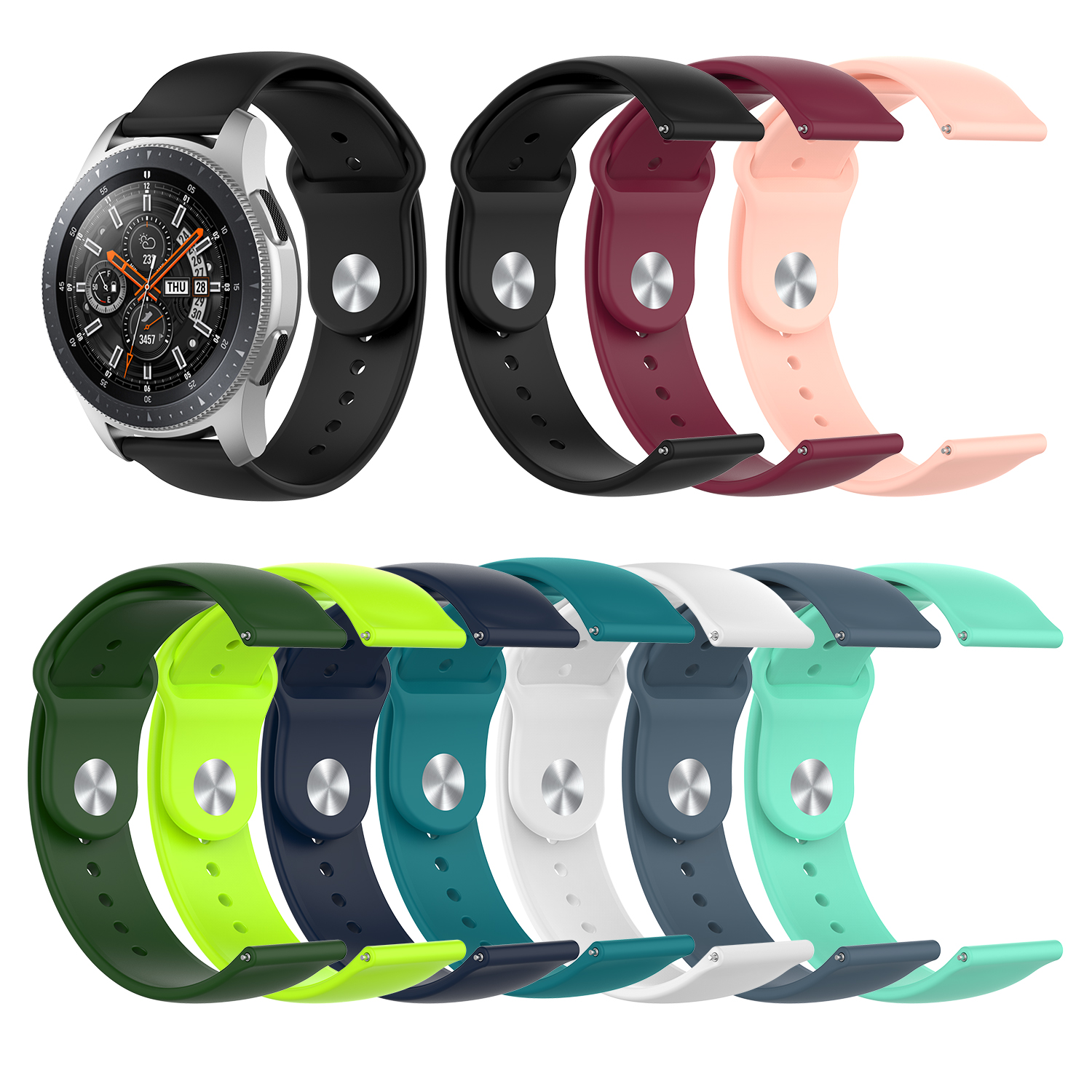 For Samsung Galaxy Watch R815/R800 Active R500 Reverse Buckle 22mm Silicone Strap For Huawei Watch GT For ASUS For ZTE