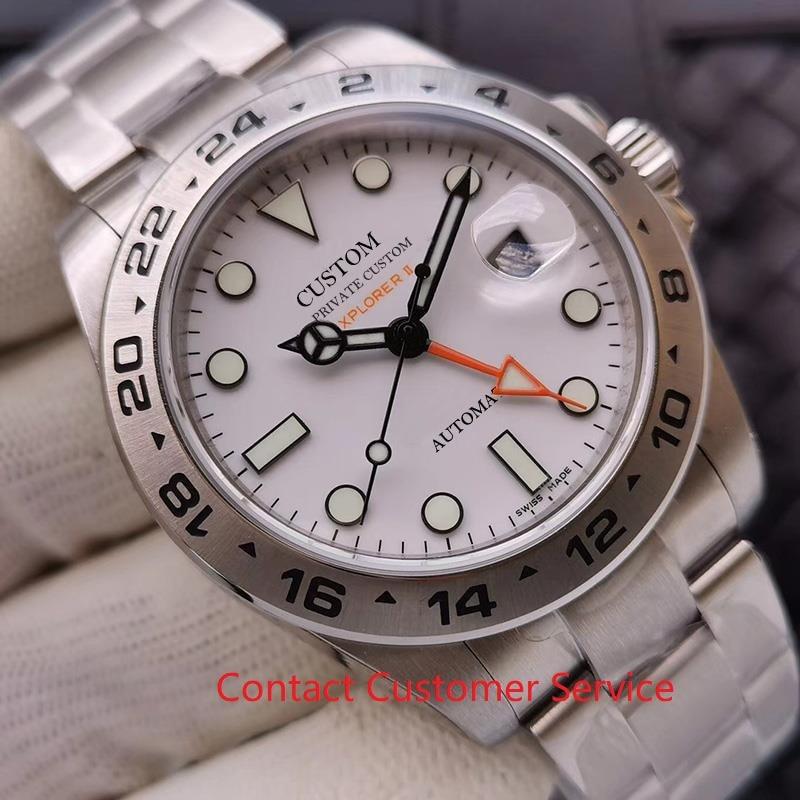 42mm Men's Watch GMT Sapphire Glass Luxury BrandAutomatic Stainless Steel Case Waterproof Silver Dial Luminous Watch Men Aaa