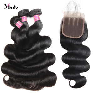 Meetu 6x6 inch Lace Closure with Bundles Peruvian Body Wave Bundles with Closure Human Hair Bundles with 5x5 7x7 Lace Closure