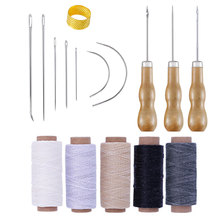 16PCS Hand Leathercraft Tool Set with Needle Leather Waxed Thread Cord Drilling Awl and Thimble for Leather Repair
