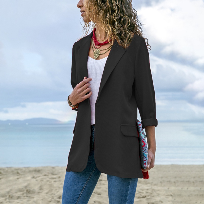 2019 Fashion Long-sleeved Slim Woman Suit Jacket Office Ladies Blazer Women Casual Solid Color Pocket Blazer Female Clothes