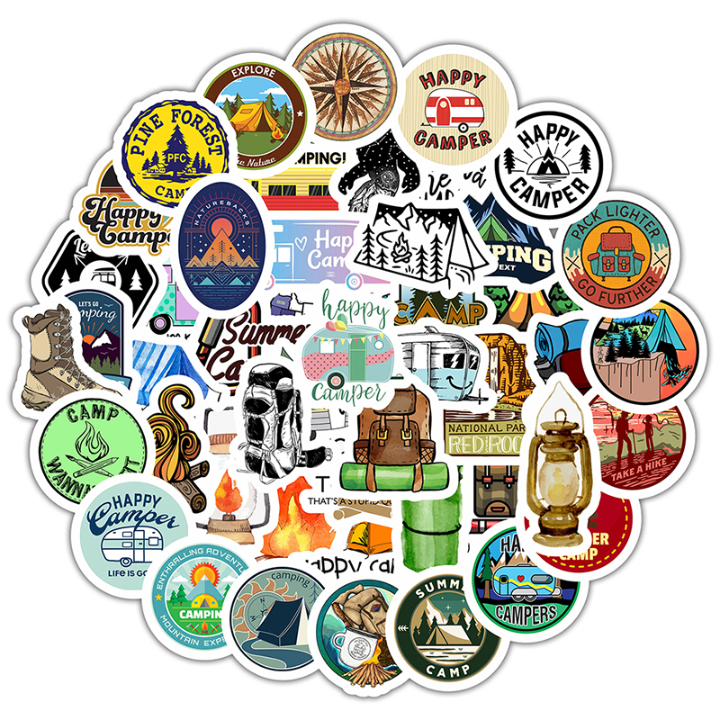 50PCS Go Camping Travel Stickers Wilderness Adventure Outdoor Landscape DIY Laptop Suitcase Motor Car Decal Sticker F5