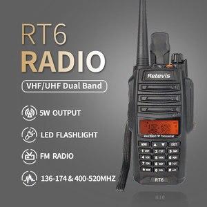 Image 2 - Retevis RT6 עמיד למים ווקי טוקי IP67 5W 128CH Dual Band VHF UHF רדיו VOX FM LCD תצוגת Walk נייד דיבור מכשיר קשר