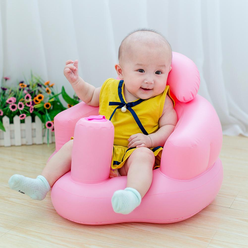 Multifunctional Baby Children Inflatable Bathroom Sofa Plastic Inflatable Seat Learn Dinner Chair Portable Bath Stool For Babies