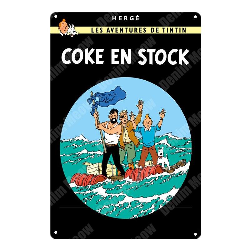 Abenteuer von Tintin Cartoon Retro Zinn Zeichen Metall Wand Kunst Poster Pub Cafe Home Decor Vintage Bar Dekoration kinder geschenk N291 5