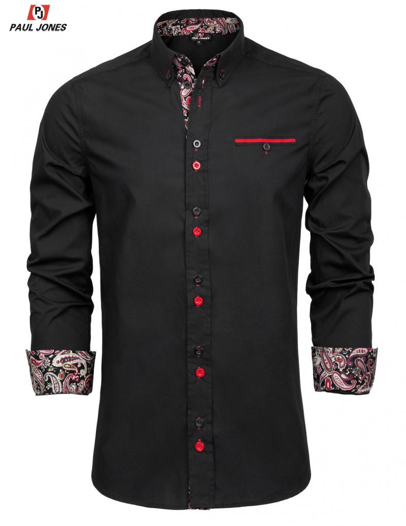 PAUL JONES Men's Long Sleeve Casual Shirt Contrast Button-Down Collar Shirt Tops Slim Fit Cotton Business Dress Shirts PJ0074