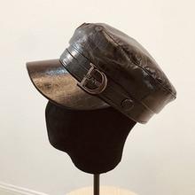Fibonacci Hats For Women Fashion Bright Leather Military Hats Travel Berets Casual Flat Top Cap Autumn Winter Simple Student Hat