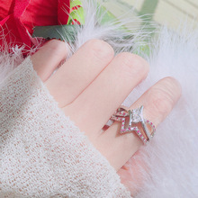 Jewelry new European and American white gem set ring ruby diamond zircon engagement