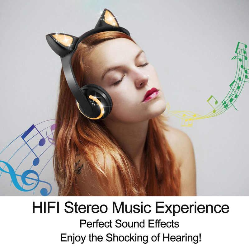LED Light Cat หูหูฟังตัดเสียงรบกวน Bluetooth เด็กสนับสนุนชุดหูฟัง TF Card 3.5 มม.สำหรับโทรศัพท์ด้วยไมโครโฟน