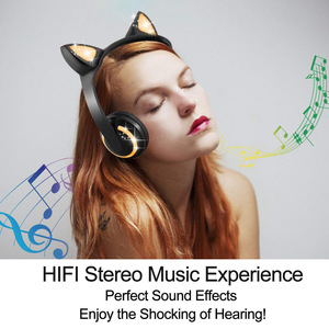 Image 3 - LED light Cat Ears Noise Cancelling Headphones Bluetooth  Kids  Headset Support TF Card 3.5mm Plug for Phones With Microphone