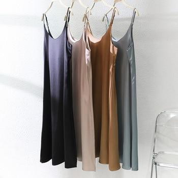 Toppies 2021 Women Satin Dress Party Luxury Shiny Sundress Sexy Imitation Silk Fashion Ladies Dress 6