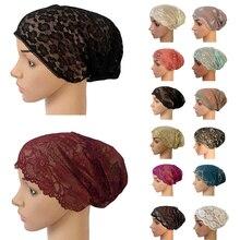 Sombrero Bandage de encaje elástico musulmán para mujer, gorros musulmanes, turbante Islámico Indio para interiores, ropa interior para el cáncer, sombreros debajo de la bufanda, Oriente Medio