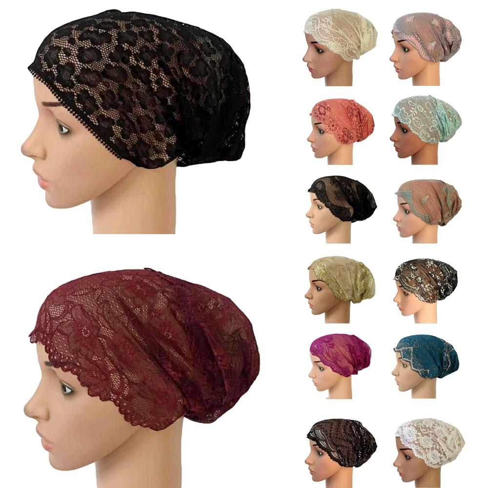 Women Muslim Elastic Lace Bandage Hat Muslim Inner Caps Islamic  Indian Turban Cancer Headwear Underscarf Hats Middle EastWomens  Skullies